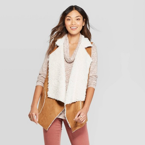 Women's Sleeveless Faux Suede With Fur Vest - Knox Rose™ Brown - image 1 of 2