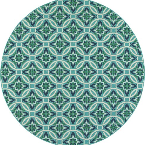 Marlowe Floral Lattice Patio Rug Blue/Green - image 1 of 3