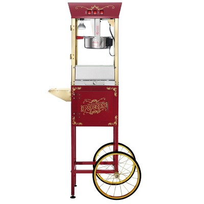 Great Northern Popcorn 8 Ounce Antique Style Popcorn Machine - Electric Countertop Popcorn Maker Cart (Red)