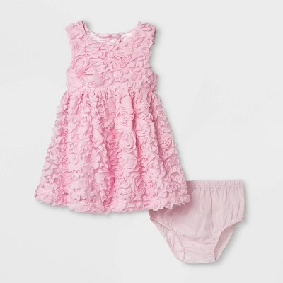 Baby Girls' 3D Mesh Dress - Cat & Jack™ Pink 6-9M
