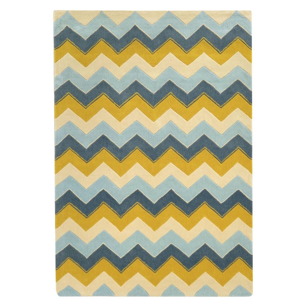 Trio Collection Chevron Area Rug - Blue / Yellow (5' X 7')