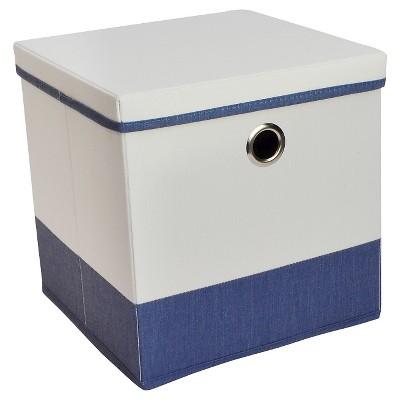 11  Lidded Cube Storage Bin White/Blue - Room Essentials™