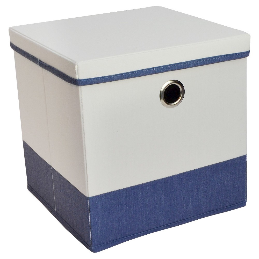 11 Lidded Cube Storage Bin White/Blue - Room Essentials