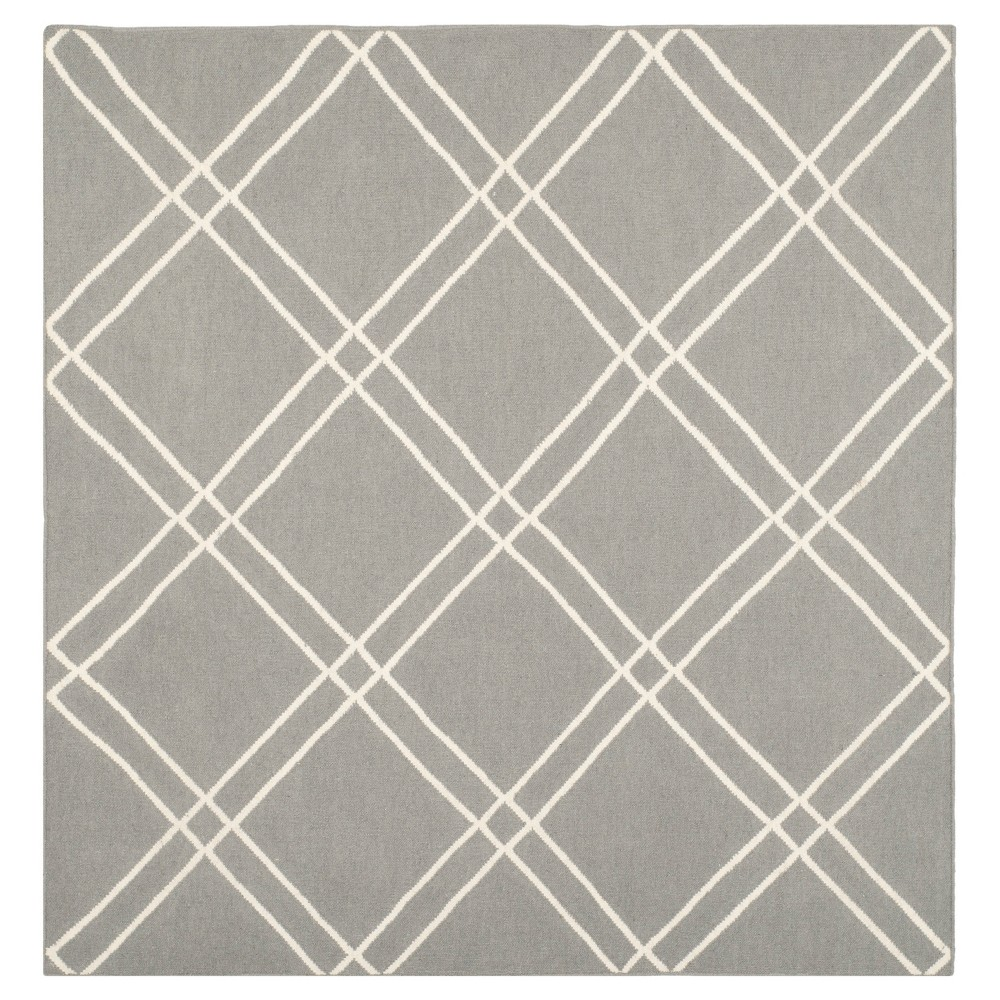 Dhurries Rug - Grey/Ivory - (6'x6' Square) - Safavieh, Gray/Ivory
