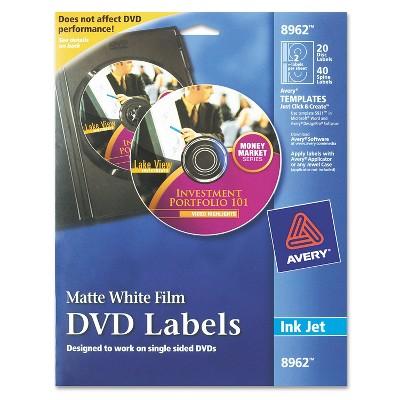 Avery Inkjet DVD Labels Matte White 20/Pack 8962