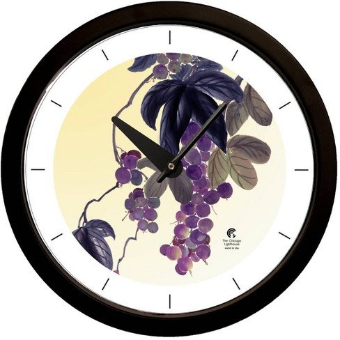 "14.5"" Artist Series Jackie Olenick Fruit of the Vine Decorative Clock Black - The Chicago Lighthouse - image 1 of 2"