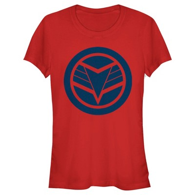 Junior's Marvel The Falcon and the Winter Soldier Blue Shield T-Shirt