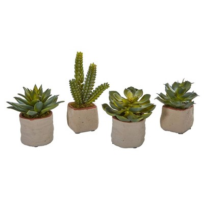 """6.5"""" x 6"""" 4pc Artificial Mixed Succulents in Pot Set Green -Nearly Natural"""