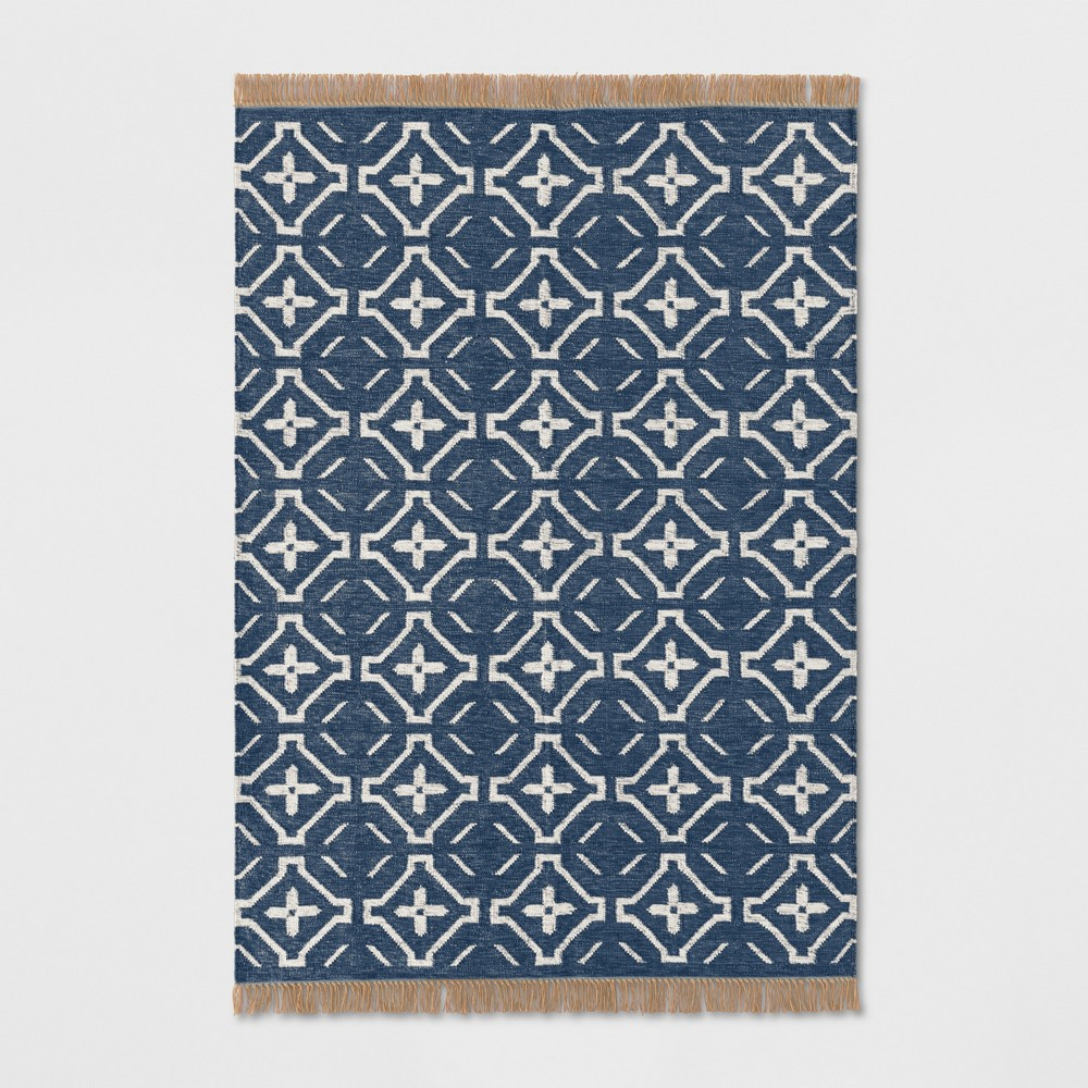 5'X7' Geometric Woven Area Rugs Blue - Threshold
