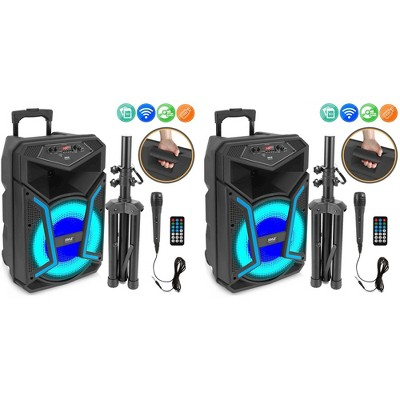 Pyle PPHP122SM 800 Watts Portable Indoor Outdoor Bluetooth Speaker System with Rechargeable Battery and Flashing Party Lights (2 Pack)