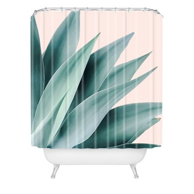 Gale Switzer Agave Flare Peach Shower Curtain Green - Deny Designs