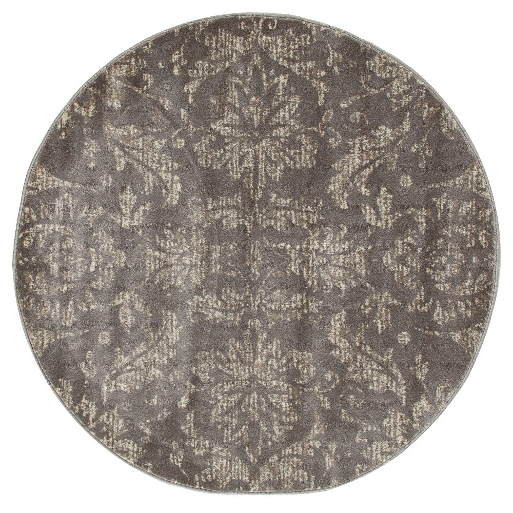 Image of Gray Classic Woven Round Area Rug - (5') - Art Carpet