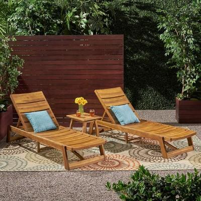 Mahi 3pc Acacia Wood Chase Lounge Set - Christopher Knight Home