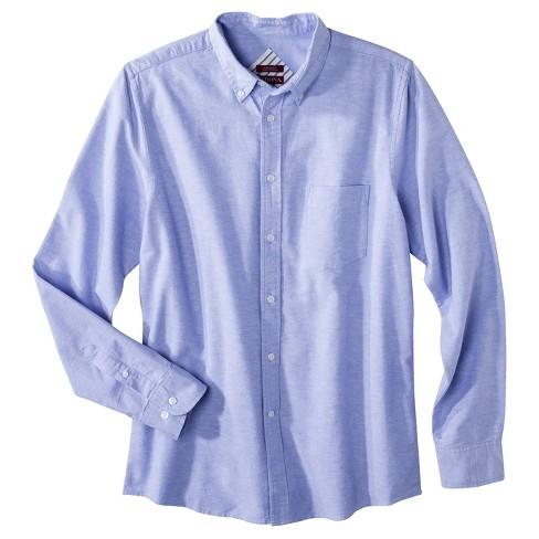 Men's Big & Tall Oxford Button-Down Shirt - Merona™ Blue/White Stripe XSM - image 1 of 1