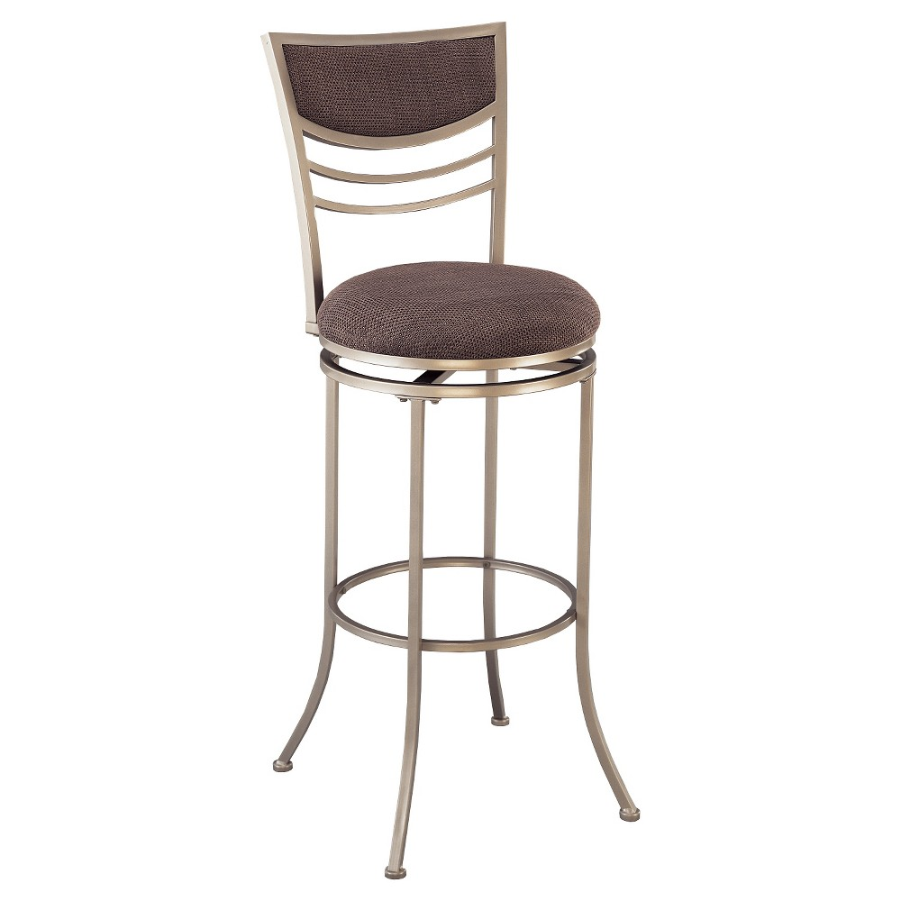 """Image of """"24"""""""" Amherst Swivel Counter Stool Metal/Champagne - Hillsdale Furniture, Brown"""""""
