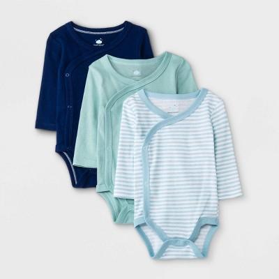 Baby Boys' 3pk Basic Side Snap Bodysuit - Cloud Island™ Blue Newborn