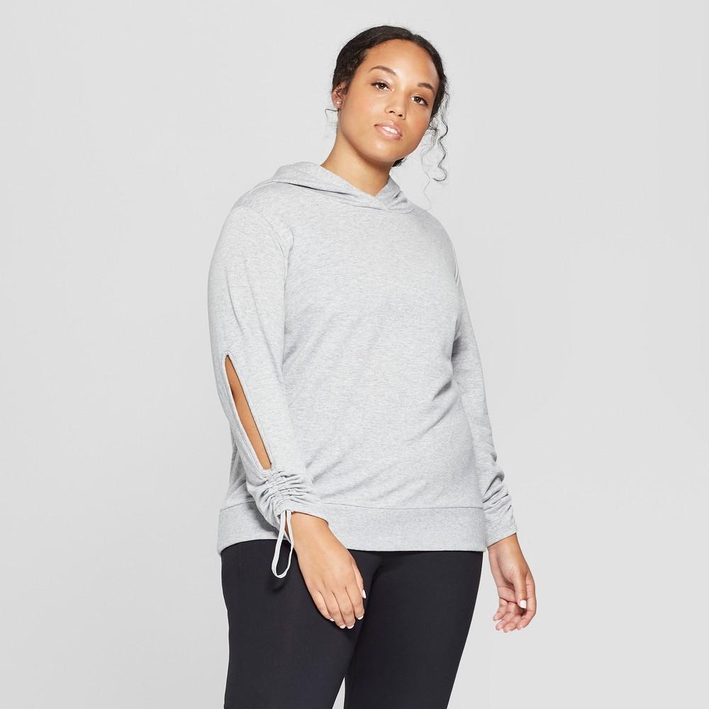 Women's Plus Size Cut - Out Hooded Sweatshirt - JoyLab Heather Gray 2X