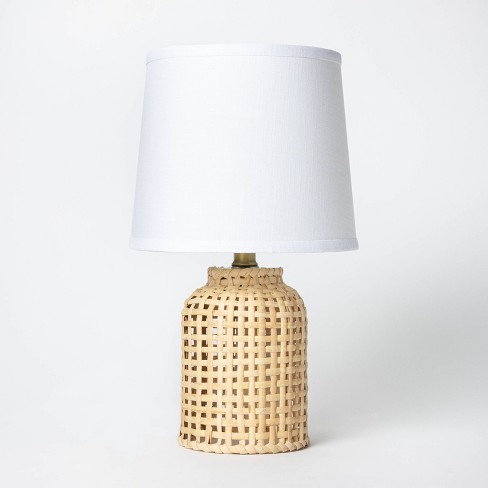 Cylinder Rattan Accent Lamp Brown - Threshold™ - image 1 of 4