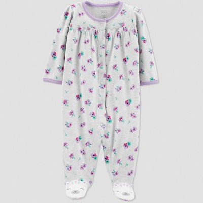 Baby Girls' Interlock Floral Sleep 'N Play - Just One You® made by carter's Gray 9M