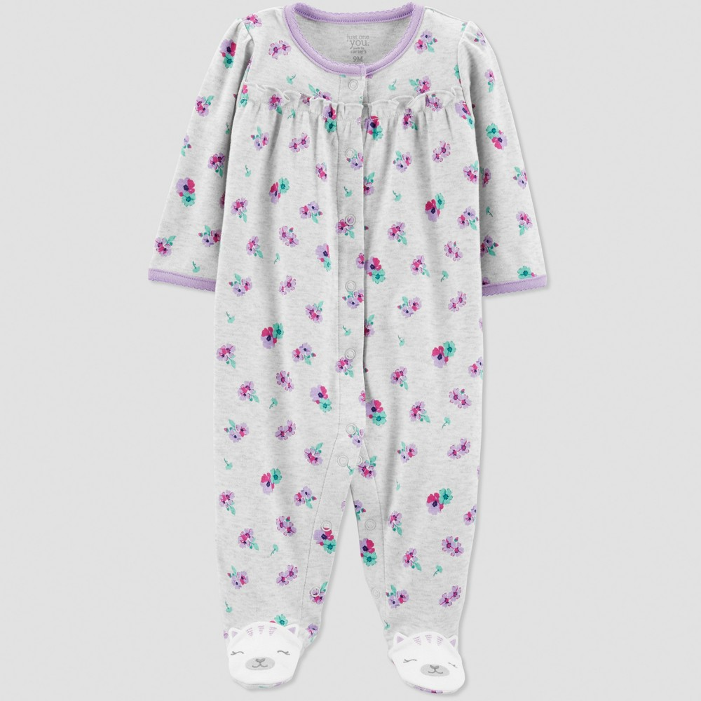 Baby Girls' Interlock Floral Sleep 'N Play - Just One You made by carter's Gray Newborn