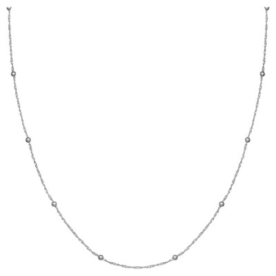 """Women's Diamond Cut Twist Chain with Polished Beads in Sterling Silver -Gray (18"""")"""