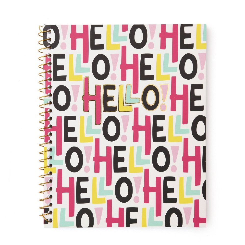 Hello Spiral Notebook 1 Subject Gold Foil Roobee
