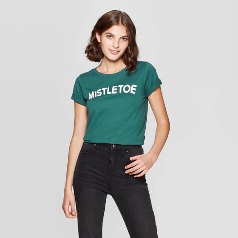 Women's Mistletoe Short Sleeve T-Shirt (Juniors') - Green - image 1 of 2