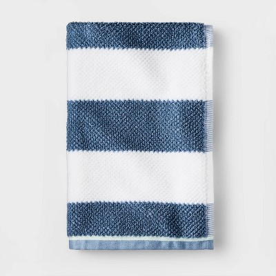 Striped Towel Navy with SILVADUR™ Antimicrobial Technology - Pillowfort™