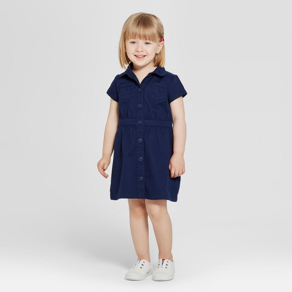 Toddler Girls' Uniform Shirtdress - Cat & Jack Navy (Blue) 4T
