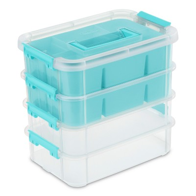 4 Tray Stack & Carry Organizer Blue/Clear - Sterilite