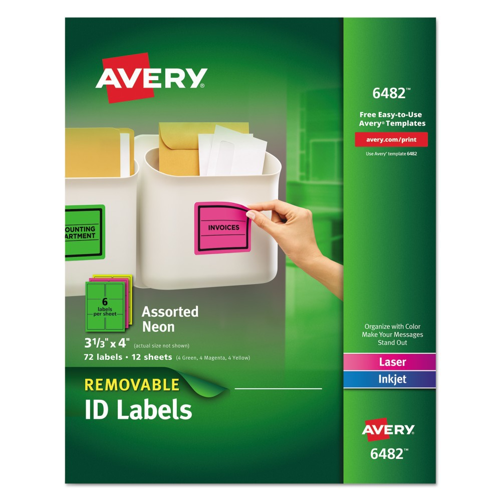 Image of Avery 06482, High Visibility Laser Labels, 3 1/3 x 4, Assorted Neon, 72/Pack