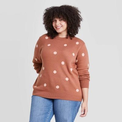 Women's Plus Size Polka Dot Crewneck Pullover Sweater - Ava & Viv™ Brown 3X