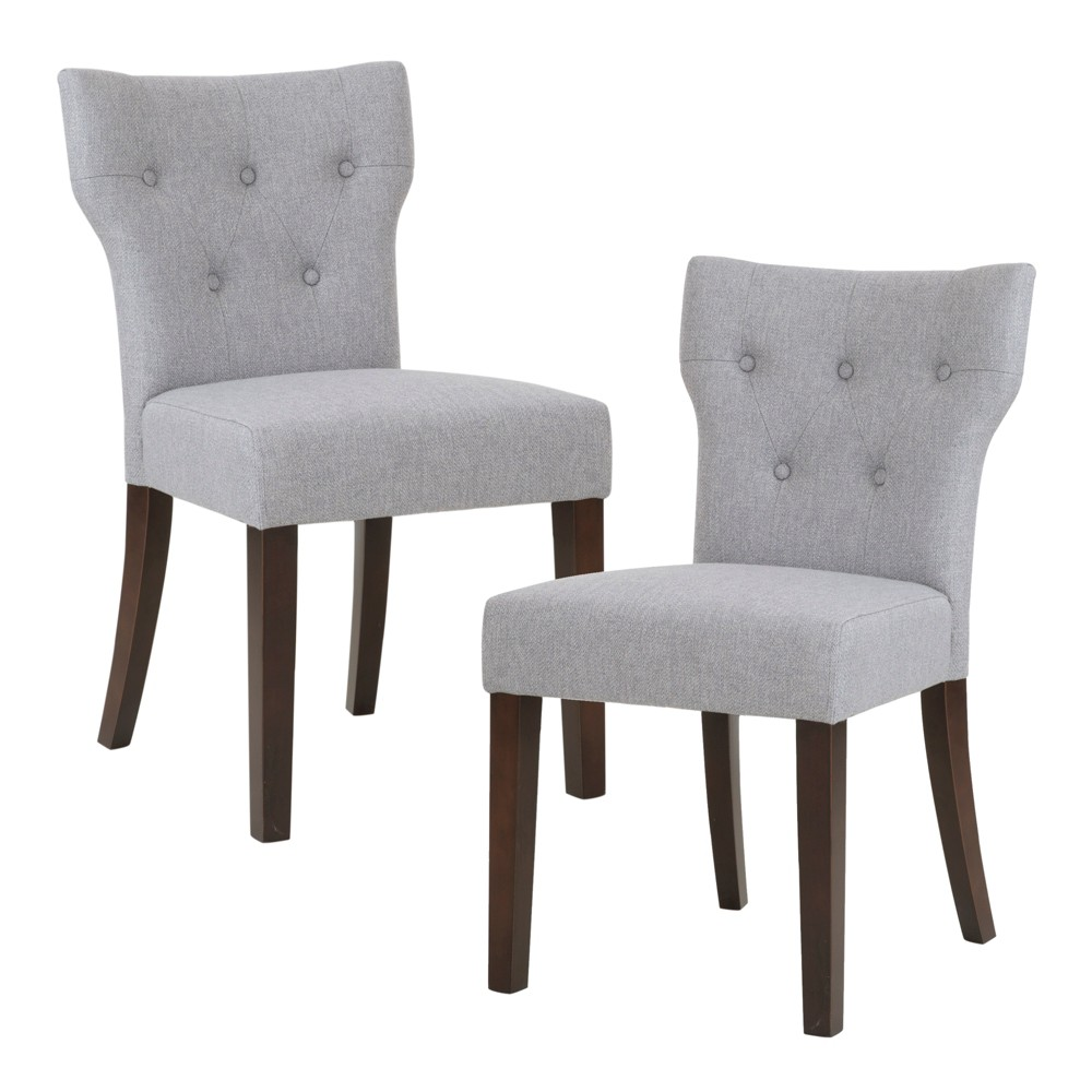 Set of 2 Saffron Tufted Back Dining Chair Gray