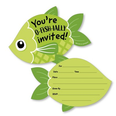 Big Dot of Happiness Let's Go Fishing - Shaped Fill-In Invites - Fish Themed Birthday Party or Baby Shower Invite Cards with Envelopes - Set of 12