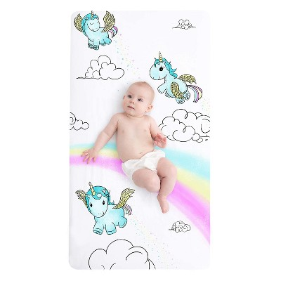 """JumpOff Jo Fitted Crib Sheet, Cotton Crib Sheet for Standard Sized Crib Mattresses, Hypoallergenic and Breathable, 28"""" x 52"""",  Unicorn Pixie Dust"""