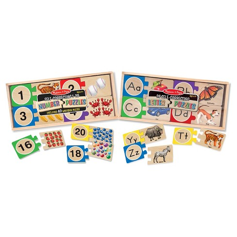 melissa doug self correcting letter and number wooden puzzles set with storage box 92pc