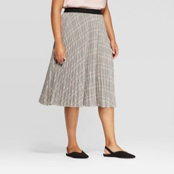 Women's Plus Size Menswear Pleated Midi Skirt - A New Day™ Gray