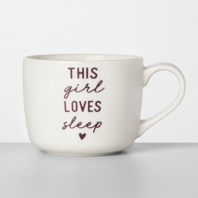 14oz Porcelain This Girl Loves Sleep Mug White/Purple - Opalhouse™