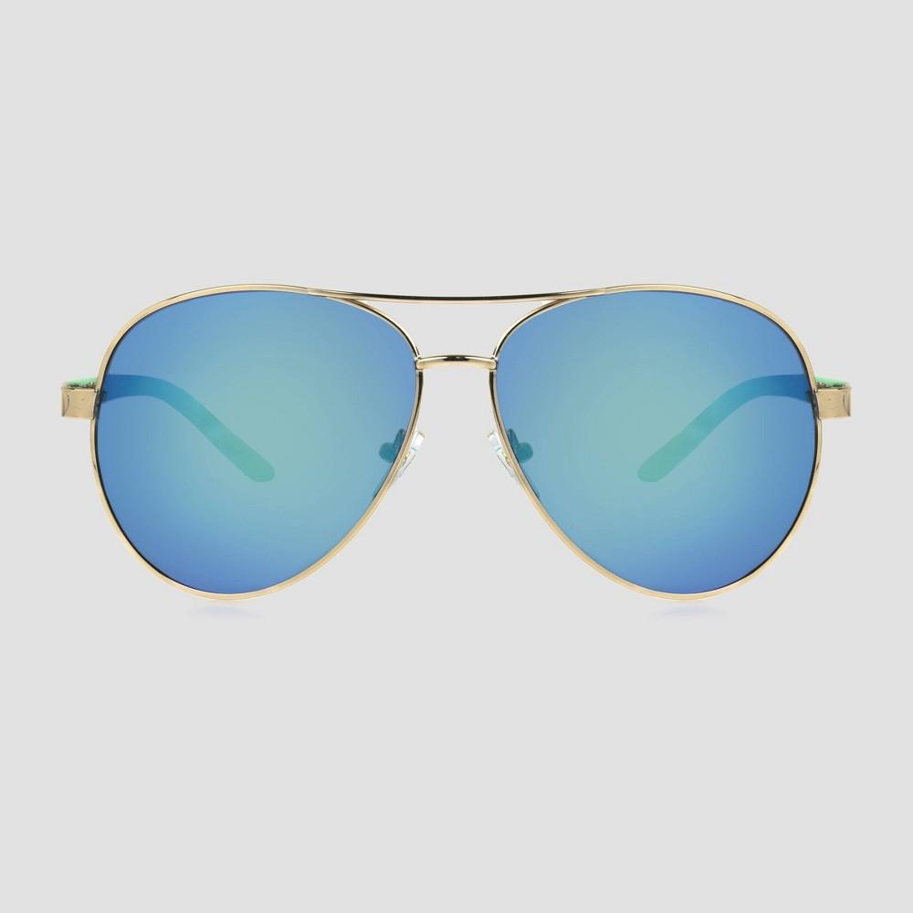 Image of Women's Polarized Aviator Plastic Metal Combo Sunglasses - Blue, Women's, Size: Small, Blue/Grey
