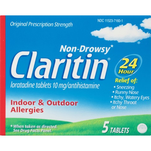 Claritin 24-Hour Non-Drowsy Allergy Relief Tablets - Loratadine - 5ct - image 1 of 1