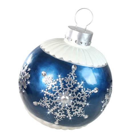 northlight 37 led lighted blue ball christmas ornament with snowflake outdoor decoration