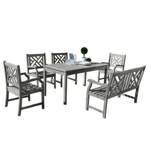 Vifah Renaissance Eco-friendly 6-Piece Outdoor Hand-scraped Dining Set with Rectangle Table, 4' Bench and Arm Chairs - Gray - image 1 of 6