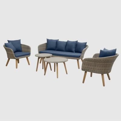 Sota 5pc Outdoor Seating Set - Dark Blue - RST Brands