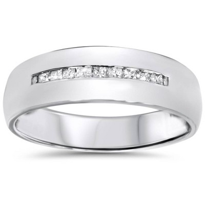 Pompeii3 Mens 5.5mm 1/6ct Princess Cut Diamond Wedding Ring 10K White Gold