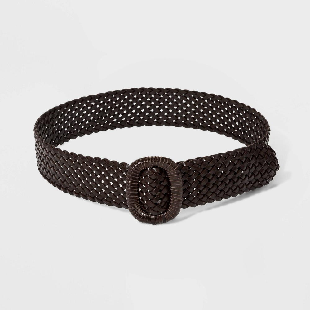 Image of Women's Wide Covered Buckle Woven Braided Belt - Universal Thread Brown L, Women's, Size: Large