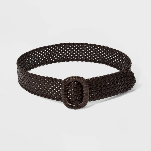 Women's Wide Covered Buckle Woven Braided Belt - Universal Thread™ Brown - image 1 of 2