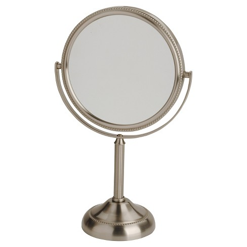 "Jerdon 6"" Table Top Mirror Nickel Beaded - image 1 of 1"