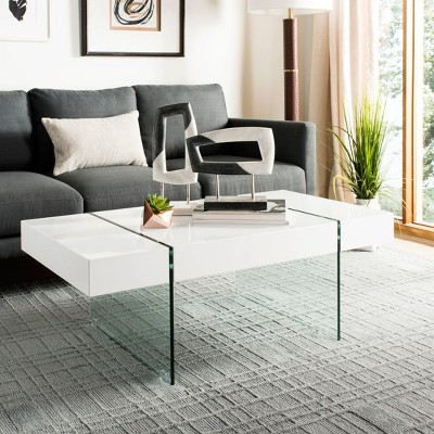 Jacob Glass Leg Modern Coffee Table White   Safavieh : Target