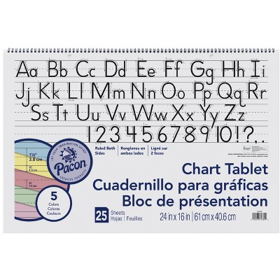 Pacon Chart Tablet, 24 x 16 Inches, 1-1/2 Inch Ruled Long Way, 25 Sheets