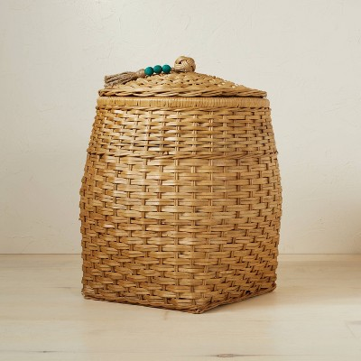 """18"""" x 21.5"""" Rattan Basket with Tassel Lid Natural - Opalhouse™ designed with Jungalow™"""